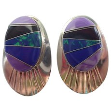 Native American Style Inlaid Earrings