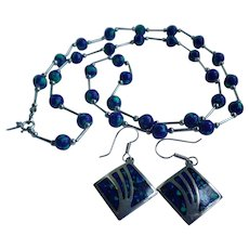 Vintage Navajo BENSON MANYGOATS Sterling Azurite Beads Necklace & Earrings