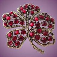 Vintage Weiss Signed Swarvoski Ruby Red Crystal Leaf Brooch