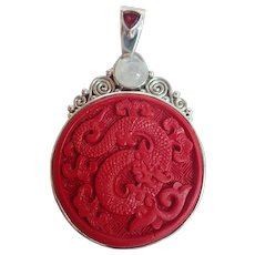 Sajen Sterling Silver Large Carved Dragon Cinnabar & Other Stones Pendant