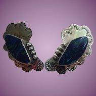 Vintage Taxco Azurite Malachite Pierced Earrings