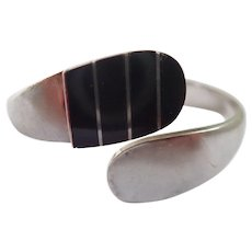 Vintage Taxco Hinged Bypass Sterling and Inlaid Onyx Bracelet