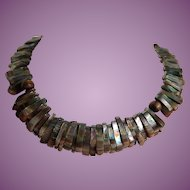 Vintage Abalone Shell Choker Necklace w/Amazing Light Play