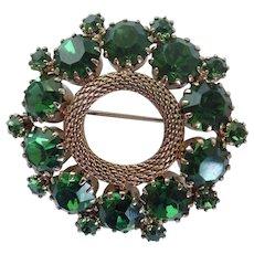 Weiss Midcentury Deep Green Rhinestone Wreath Brooch