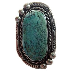Vintage Navajo Style Native Amerian Southwestern Turquoise & Sterling Ring