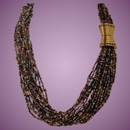Vintage Beautiful JOAN RIVERS Gold Tone Multicolor Beads Necklace, Signed 19.5""