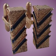 Vintage Christian Dior Cuff Links Gold Tone With Blue Chevron Stripes