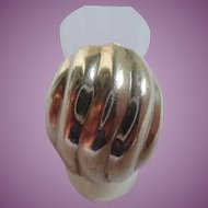 Vintage Statement Mexico Sterling Silver Domed Ribbed Ring