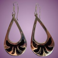 Mexico 925 Inlaid Onyx Drop Wire Earrings