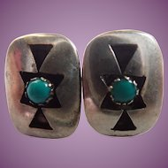 Southwestern Native Amerian Style Shadow Box Turquoise Color and Sterling Petite Earrings