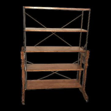 Rare Oak Baker's Combination Folding Table