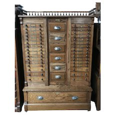 Pharmaceutical  Cabinet by Columbia Cabinet Co, Oak with 39 Drawers