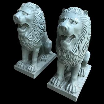 Cast Iron Lion Sculptures