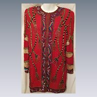 Gorgeous Vintage Red Multi Color Beaded w/ Sequins Silk Jacket