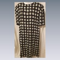 Outstanding Vintage Laurence Kazan Black Beaded & Silver Sequined Silk Dress Size 1X