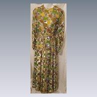 Stunning Vintage Multi Color Belted Maxi Dress by Elizabeth Holley Toronto