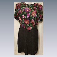Vintage Laurence Kazan Silk Dress with Sequins in a Floral Design & Black Beads PL