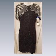 Vintage NWT Black & Silver Beaded & Sequin Natural Silk Dress w/ Cut Out Back by JMC