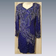 Vintage Royal Blue Pure Silk Dress w/ Faux Pearls & Beading Fully Lined Made in India