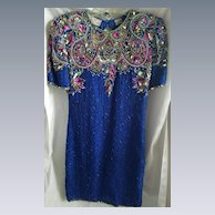 Lovely Blue w/ Multi Color Sequined Laurence Kazan Pure Silk Dress w/ Cut Out Back