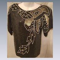 Vintage Jean for Joseph Le Bon 100% Pure Silk Top w/ Faux Pearls, Sequins & Beading M