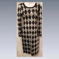 Stand Out Form Fitting Vintage Harlequin Pattern Black & Silver Sequin Adrienne Vittadini Dress 6