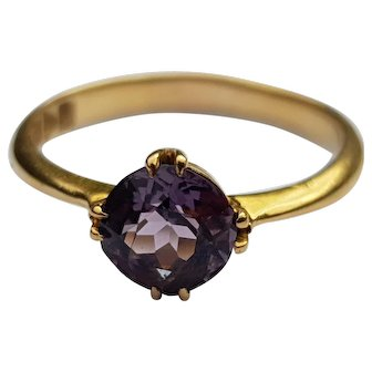 Art Deco Amethyst 18ct Gold Ring Engagement or Special Everyday Ring