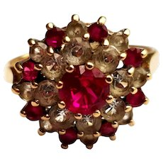 Vintage Ruby 1970's and CZ or Clear Paste 9ct Gold Cluster Ring size O U.S size 7 1/4