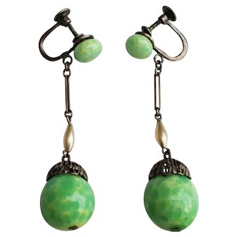 Art Deco Peking Glass Screw Back Earrings