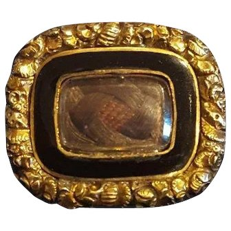 Antique Georgian Black Enamel and Hair Gold Brooch Pin Dated Mourning Jewellery