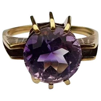 Vintage Amethyst Statement Ring 14ct Gold Solitaire Amethyst Ring size L 1/2 U.S size 6
