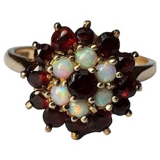 Opals and Garnet 9ct Gold Ring Vintage Cluster