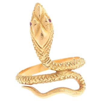 Vintage 18 karat Gold and Ruby Serpent / Snake / Cobra Ring