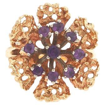 Retro 14 karat Gold Cocktail Amethyst Floral Ring