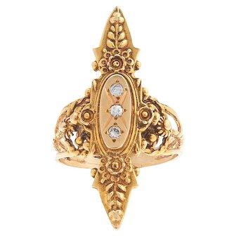 Etruscan Style 14 karat and 10 karat  Gold Diamond Navette Ring