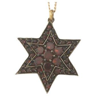 Victorian Bohemian Garnet Vermeil Gold Star Pendant