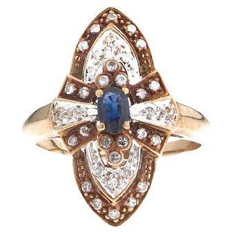 Art Deco 14 karat Gold Sapphire Diamond Ring