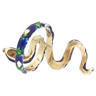 Vintage 14 karat Gold, Ruby and Enamel Serpent Ring