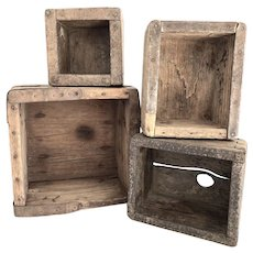 Set of 4 Rustic Antique Wooden Dovetail Boxes w/ Iron Straps