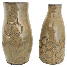 "Pair of 7.5"" Honeycomb Red Clay Stoneware Art Vases"