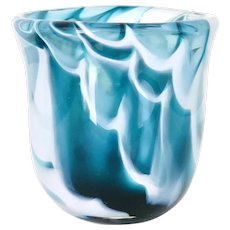 Signed Craig Weatherby Art Glass Vessel - Michigan Artist Handblown Aqua Swirl Glass