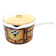 Mid-Century Mod Porcelain Lidded Saucepan - Siena Ware Imperial Japan - MCM Ceramic