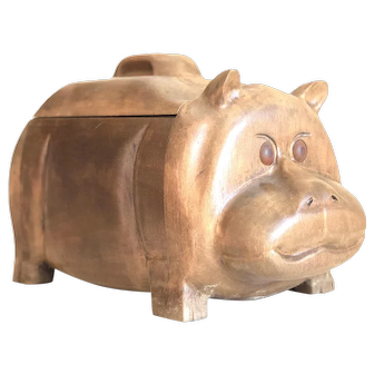 Rare Mid-Century Hand Carved Wood Hippopotamus Box