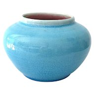 Pisgah Forest Blue Craquelure Crackle Glaze Pot Vase - 1942 North Carolina