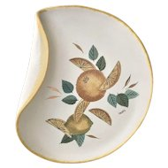 Sascha Brastoff Mid-Century Folded Lip Plate - Citrus Design - California Pottery