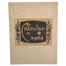 Keisuke Serizawa 1961 Folio Calendar - Handmade Mulberry Paper Japanese Kataezome Art