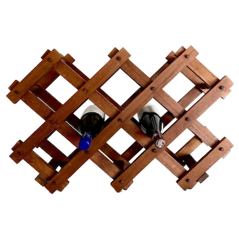 Goodwood Mid-Century Free Standing Teak Wine Rack - Holds 10 Bottles