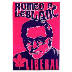 1970s Plastic Canada Campaign Poster Romeo LeBlanc Liberal