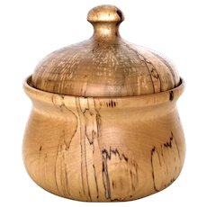 Finnish Turned Wood Covered Dish - Made in Finland Spalted Birch or Tulip Poplar Lidded Bowl