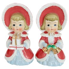 Porcelain Shopper Girls in Bonnets circa 1950s - Mid Century Christmas Figurines